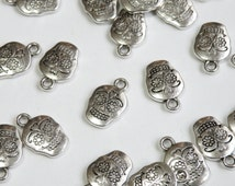 10 Sugar Skull Charms Day of the Dead skeleton antique silver 18x12mm P21061