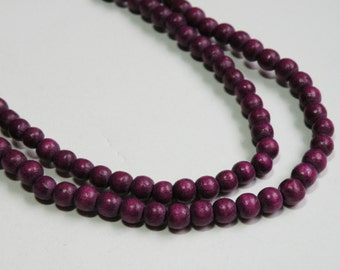 Plum Purple wood beads round 6mm full strand eco-friendly Cheesewood 9414NB