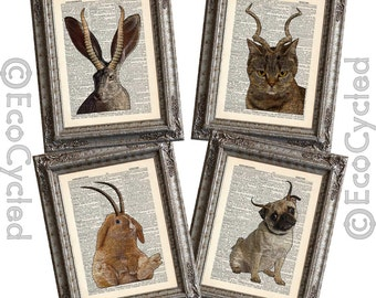 Jackalope Family on 4 Vintage Upcycled Dictionary Art Prints Book Art Prints Book Lover Art Jackalope Bunalope Pugalope Catalope