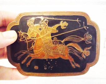 Brass cigarette storage trinket box  warriors made in India  horseback horsemen lidded vintage