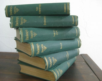 6 volume set of old green books ~ the perfect sleep aid : William Makepeace Thackeray's novels