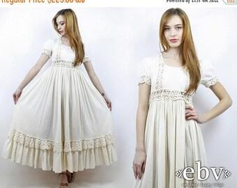 Hippie Wedding Dress Hippie Dress Hippy Dress Boho Dress Hippy Wedding Dress Boho Wedding Dress Vintage 70s Cream Crochet Lace Dress XS S