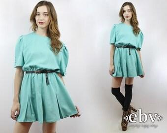 Blue Dress Secretary Dress Babydoll Dress Work Dress Mini Dress Aqua Dress Vintage 80s Light Blue Secretary Mini Day Dress XS S M