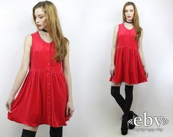 Vintage 90s Red Velvet Mini Dress S M 90s Grunge Dress Velvet Dress 90s Dress Red Dress 1990s Dress 90s Mini Dress Babydoll Dress