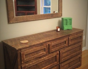 Rustic wood dresser with mirror