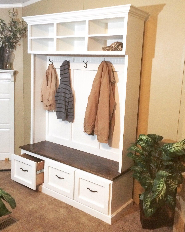Foyer Mudroom Reviews : Mud bench locker unit hall tree shoe made from