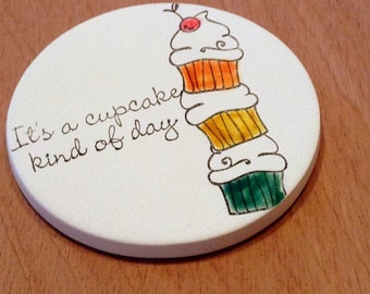 cup holder coaster, wine glass coaster - hand stamped bisque tile, absorbent -- cupcakes