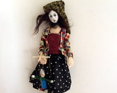 RESERVED for Customer - Mime cloth art doll posable wire armature clown marionette unique gift