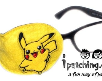 Kids and Adults Orthoptic Eye Patch For Amblyopia Lazy Eye Occlusion Therapy Treatment Pokemon on Yellow