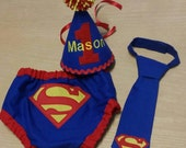 superman cake smash outfit, super hero first  birthday outfit, blue red and yellow cake smash set