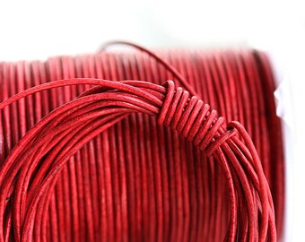 1mm Round Natural Leather cord - Vintage Red - 10 feet, LC035
