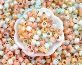 10g Toho Seed Beads Mix - Pastel Colors - MayaHoney Special Mix, 8/0 size, Mint, Peach, Cream - S1025