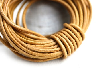 1.5mm Round Leather cord - Dark Natural, Light Brown Tan - 10 feet, LC075