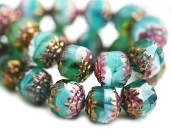 8mm Teal Green beads, cathedral round czech glass beads with golden ends, fire polished - 10Pc - 0651