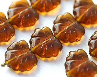 Brown glass leaves, Czech glass leaf beads, Maple brown leaves - 11x13mm - 10Pc - 2619
