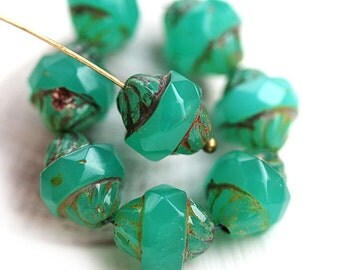 8pc Turbine beads, Jade Green, Picasso Czech glass beads, fire polished, bicone, faceted - 11x10mm - 2670