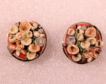 VTG Art Deco Earrings Enamel Ceramic Earrings Seashells Clip On Earrings Cute Handmade Ooak 1930s Earrings French