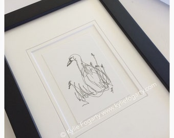 Black and White Bird Art - Drawing - SFA - ACEO - Fine Art Miniature- Duck - Thankyou Gift