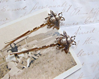 Bronze Bee Hair Pins
