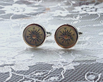 Antique Wanderlust Working Compass Cufflinks