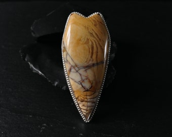 Brecciated Mookaite Shield Ring - Sterling Silver
