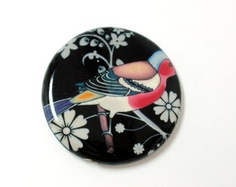 Red Robin Round Decoupage Pendant, 45mm Round Paper/Wood Glazed Focal Pendant