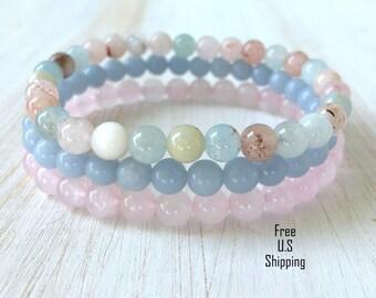Heart Mending, Morganite, Angelite, Rose quartz, set of 3, mala bracelets, Yoga bracelets, bracelet set, Reiki Charged, stacking, Calming