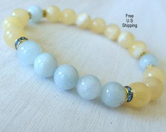 Inner Healing, Aquamarine bracelet, Yellow Jade, Yoga bracelet, wrist Mala, Jade bracelet, Healing bracelet, energy bracelet, Yoga mala