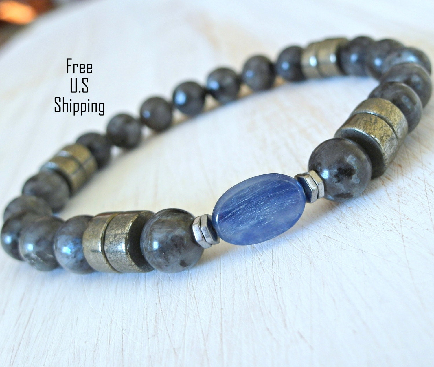 Men's Kyanite Bracelet Black moonstone Pyrite tribal