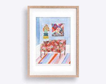 Midcentury Ornaments Still Life - Watercolour Illustration of a Room featuring Textiles & Ceramics