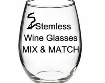 ANY 5 GLASSES - Your Choice - Mix & Match