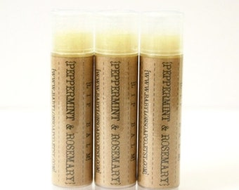 SHOP CLOSING SALE Peppermint Rosemary Lip Balm . Peppermint Balm . Cocoa Butter and Beeswax . 100% Natural Lip Balm