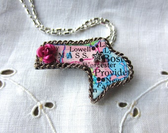 Massachusetts State Puzzle Piece Brooch/Necklace MASS2016
