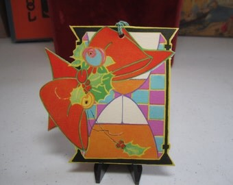 1920's-30's unused art deco die cut christmas new years themed bridge tally card hour glass w/ red ribbon and holly berry,the Henderson Line