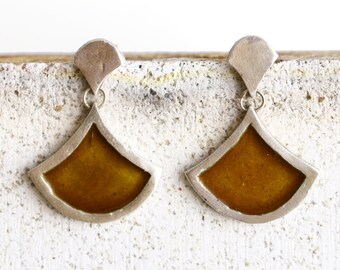 Yellow enamel earrings - Sienna yellow earrings - Silver dangle earrings - Vitreous enamel jewelry - Mustard yellow earrings