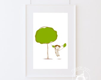 Leaf Life -Nursery Decor - Fine Art print -Kids room decor - adorable tree- baby boy illustration