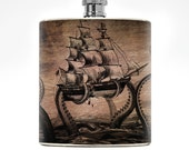 Drinking Gifts Mens Flask Womens Wedding Groomsmen Nautical Gift Pirate Octopus College Boyfriend Birthday Giant Squid Folklore Flask