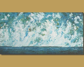 panoramic ocean painting, abstract painting, billowing clouds, blue and white, panoramic painting, ocean, landscape painting, seascape 18x36