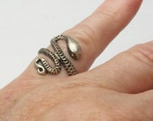 1970's Vintage Boho Silver Plate Snake Serpent Bohemian Costume Jewelry Ring Gift For Her on Etsy
