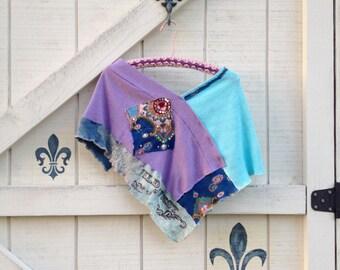 Boho shrug shawl Patchwork shrug, One size, turquoise purple coverlet bolero sweater