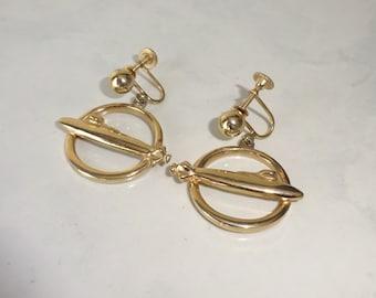 Vintage Submarine Earrings Gold Toned Metal Screw Back