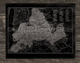 Poster Print Brooklyn New York Antique Map Repro Chalkboard Look Photo Paper 8x10 to 24x30