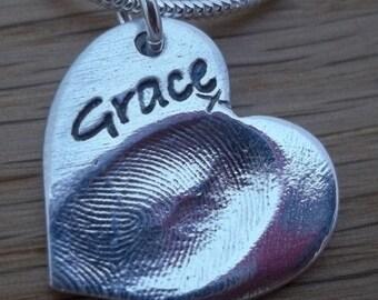 Silver Fingerprint jewellery/jewelry charm necklace