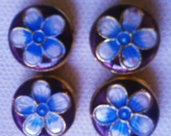 4 - Cloisonne Flower Beads