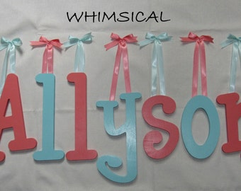 "SALE :) Wall Letters - Painted Wood - Whimsical - plus other Fonts - Gifts and Decor for Nursery, Home, Playrooms, Dorms - 10"" Size"