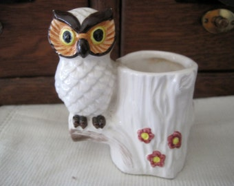 Cute Vintage Owl Toothpick Holder or Small Vase