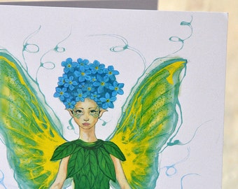 Forget-Me-Not Fairy - Flower Fairy - Fae Greeting Card - Eco-Friendly - Birthday Card