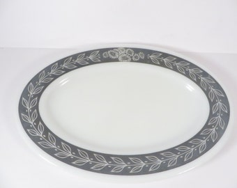 Vintage Gray Pyrex Oval Platter -  Laurel Grey Autumn Band Oval Tray