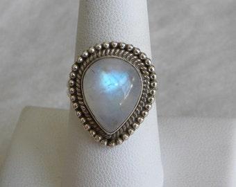 Moonstone Ring Handmade Fine Rainbow Blue Flash 16x12mm Gemstone Ring Sterling Silver Ring Size 8 1/4 Take 20% Off Rainbow Moonstone Jewelry