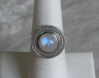 Moonstone Ring Handmade Nice Blue Flash 9mm Natural Gemstone Ring Sterling Silver Ring Size 6 1/2 Take 20% Off Rainbow Moonstone Jewelry
